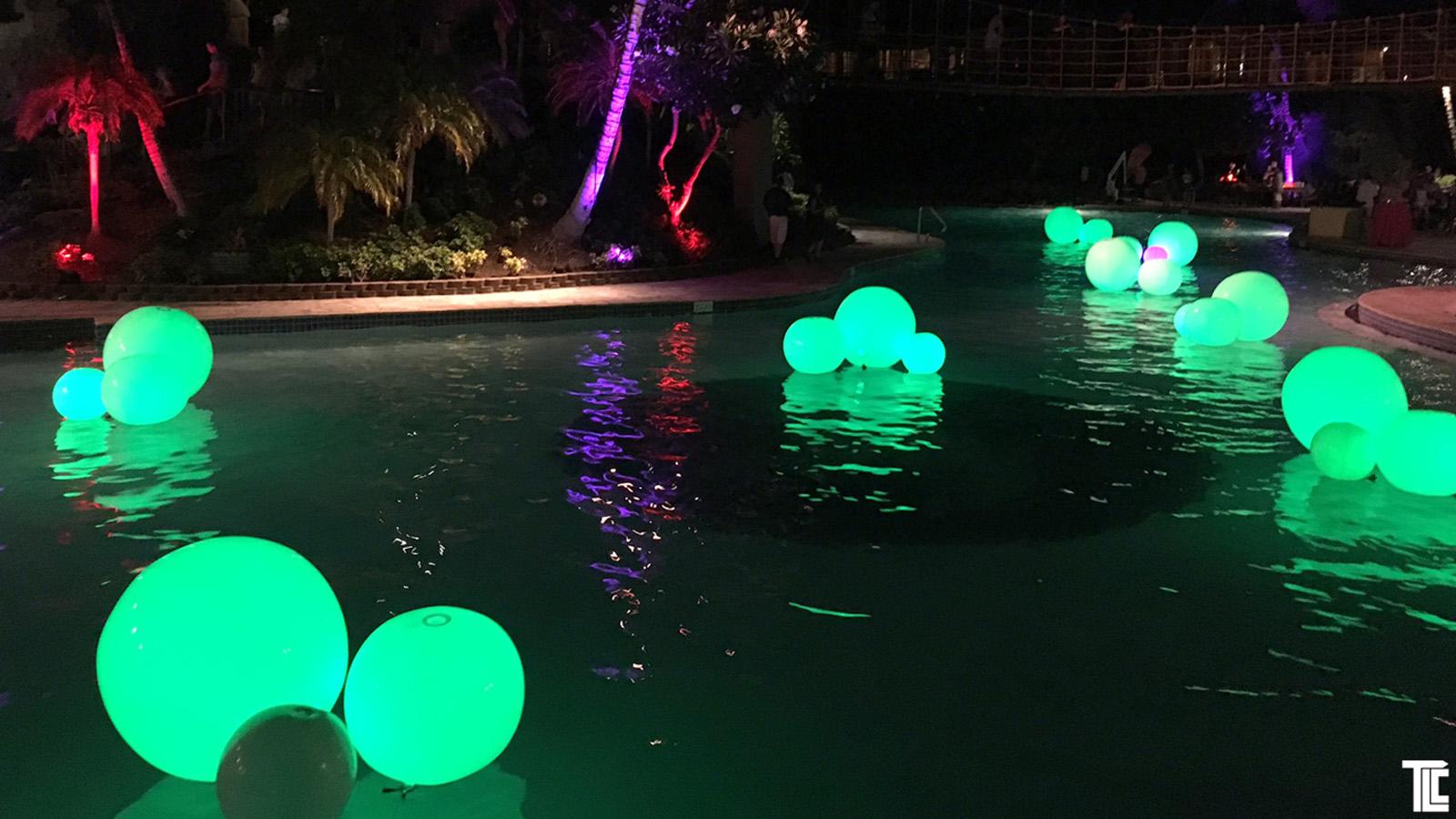 glow balls pool event